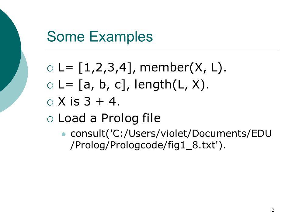 Some Examples L= [1,2,3,4], member(X, L). L= [a, b, c], length(L, X).